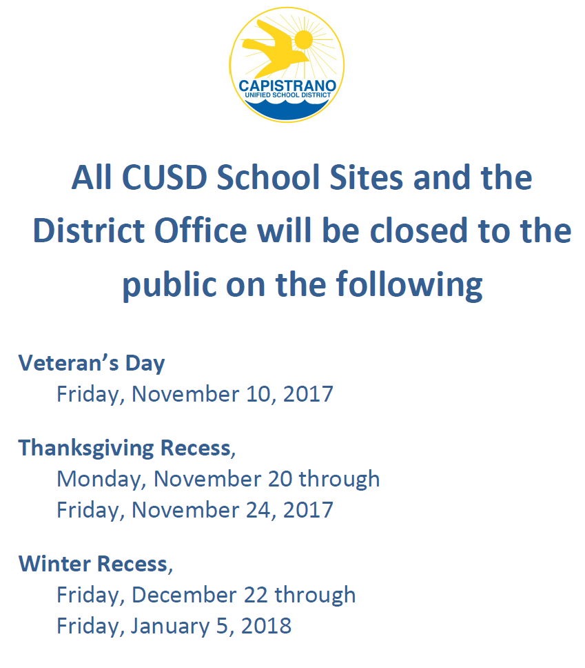CUSD Holiday Closures